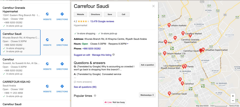 NAP information of Carrefour supermarkets in Riyadh, Saudi Arabia