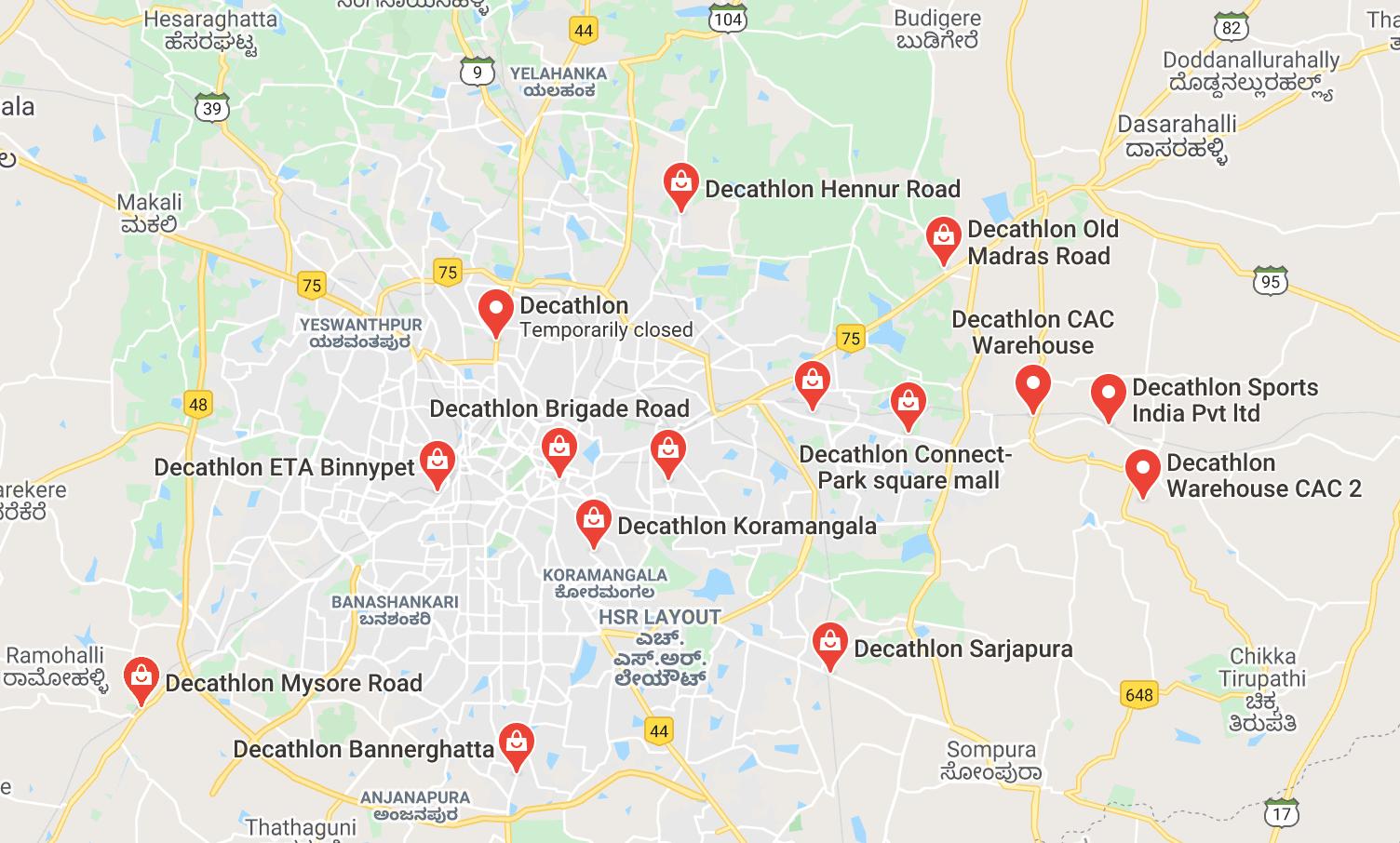 Google Maps icons of Decathlon GMB listings
