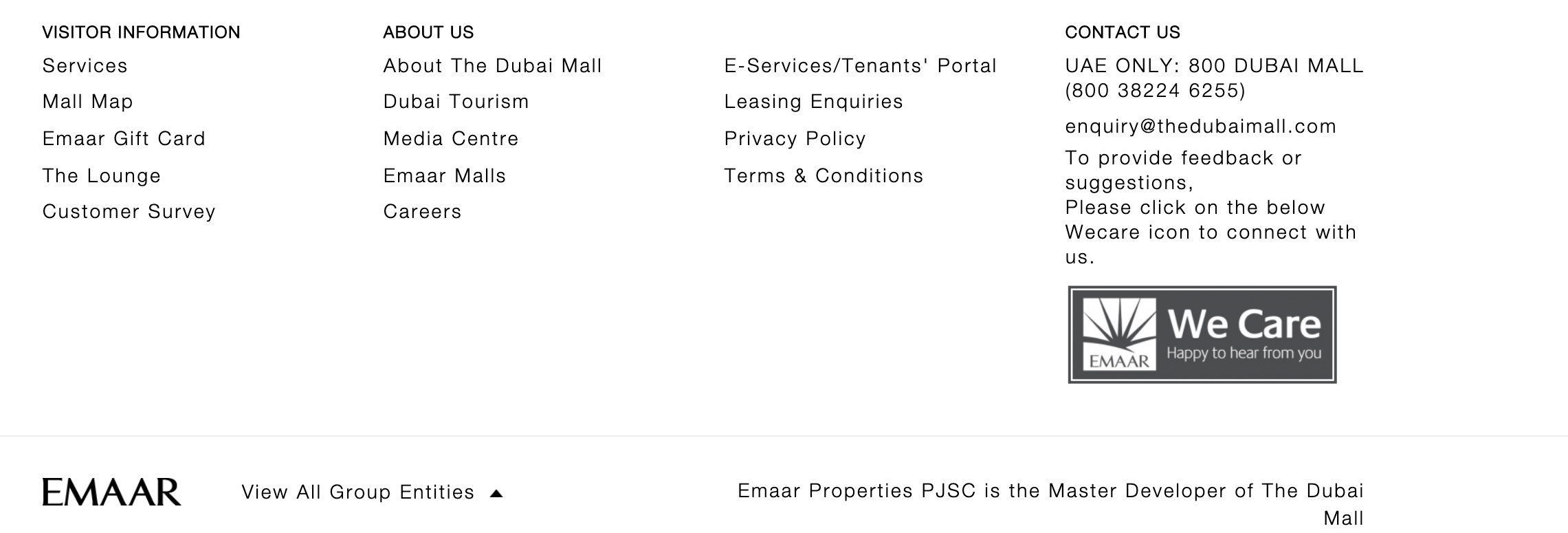 Dubai Mall contact details on website