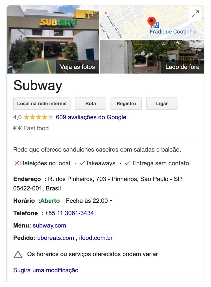 ficha Subway