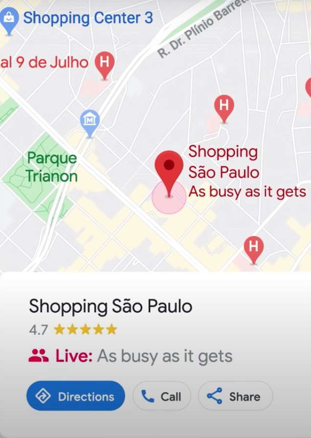 Google Maps Live view of shopping mall