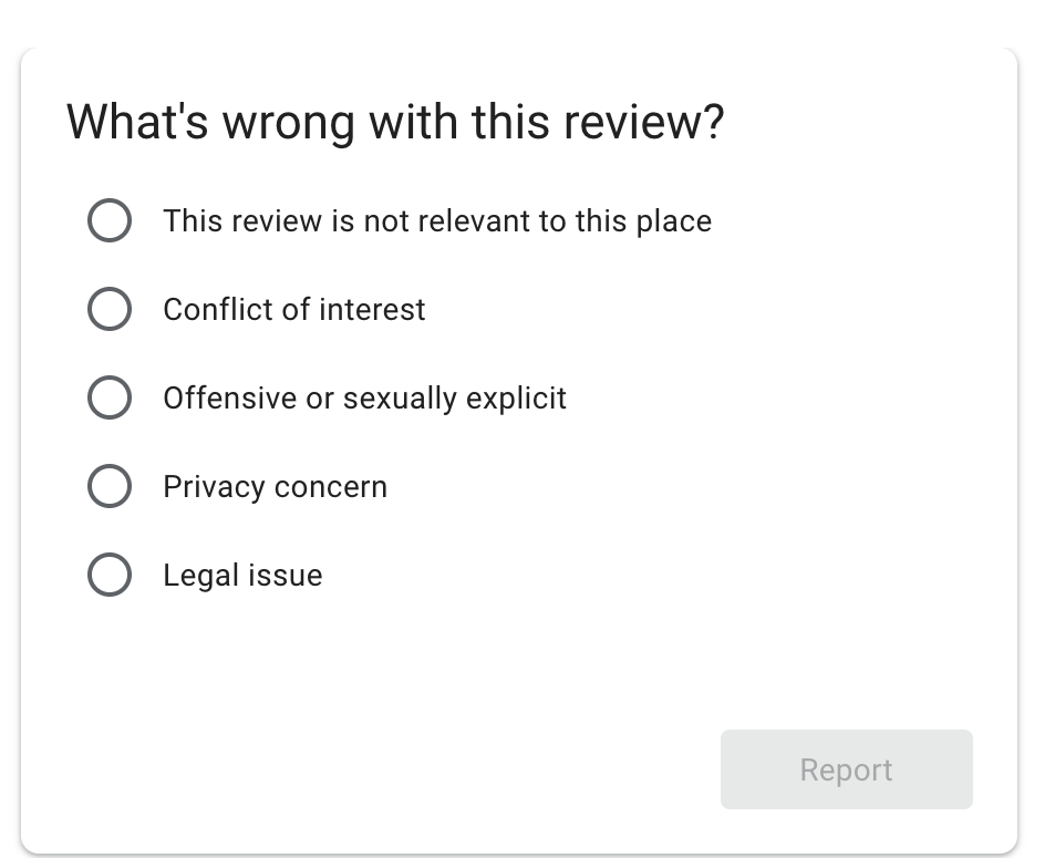 Flagging inappropriate reviews on Google