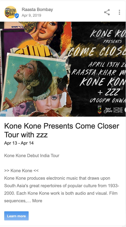 Google post at Raasta Bombay
