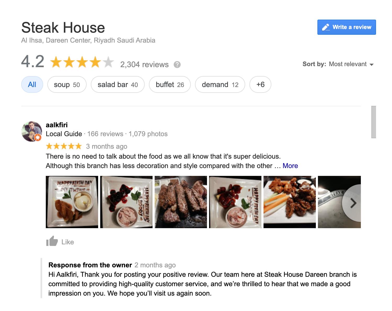 Steak house Saudi Arabia GMb reviews