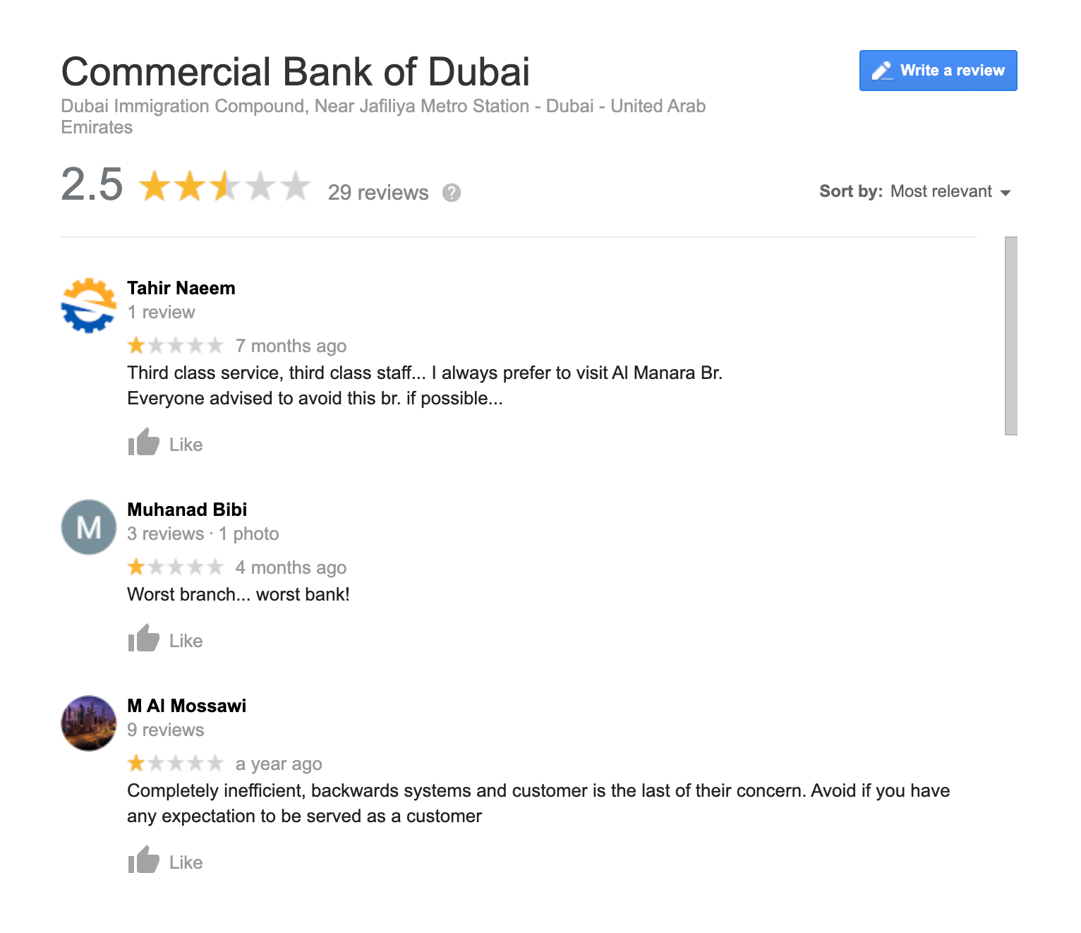Unanswered reviews of bank in Dubai