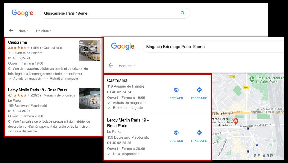 captures résultats de recherche pour quincaillerie paris 19ème et magasin de bricolage paris 19ème