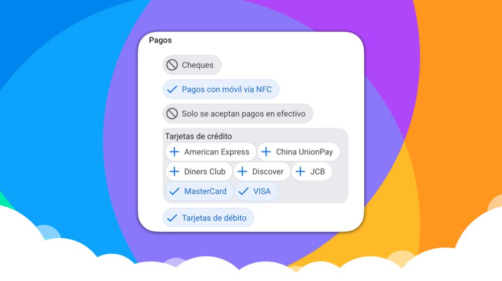 Los atributos disponibles para los establecimientos desde Google My Business