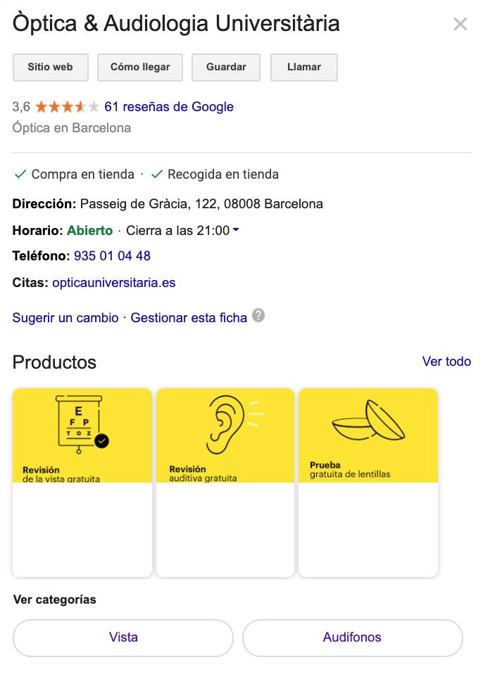 ficha de establecimiento Google My Business con catálogo de productos