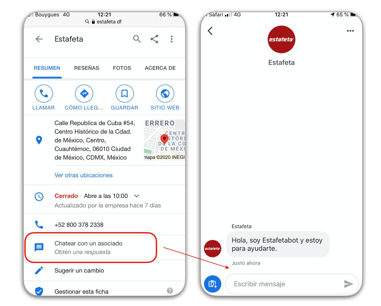 ficha Google My Business con la habilitación de Google Messages