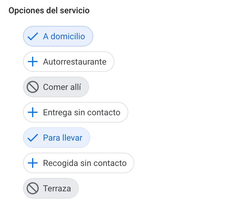 opciones del nuevo atributo de click and collect en el backoffice de google my business