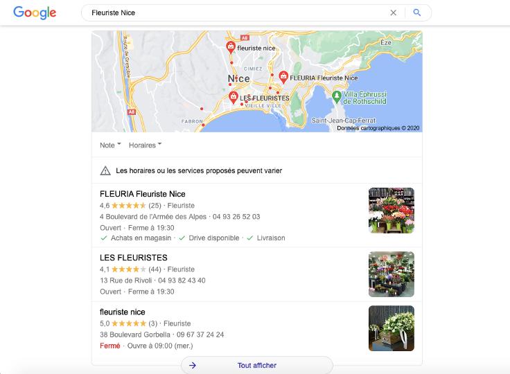 Résultat d'une recherche locale pour un commerce indépendant