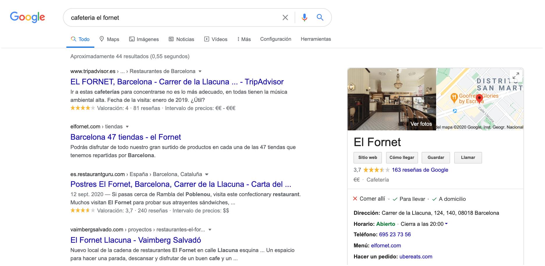 búsqueda google de cafetería el fornet