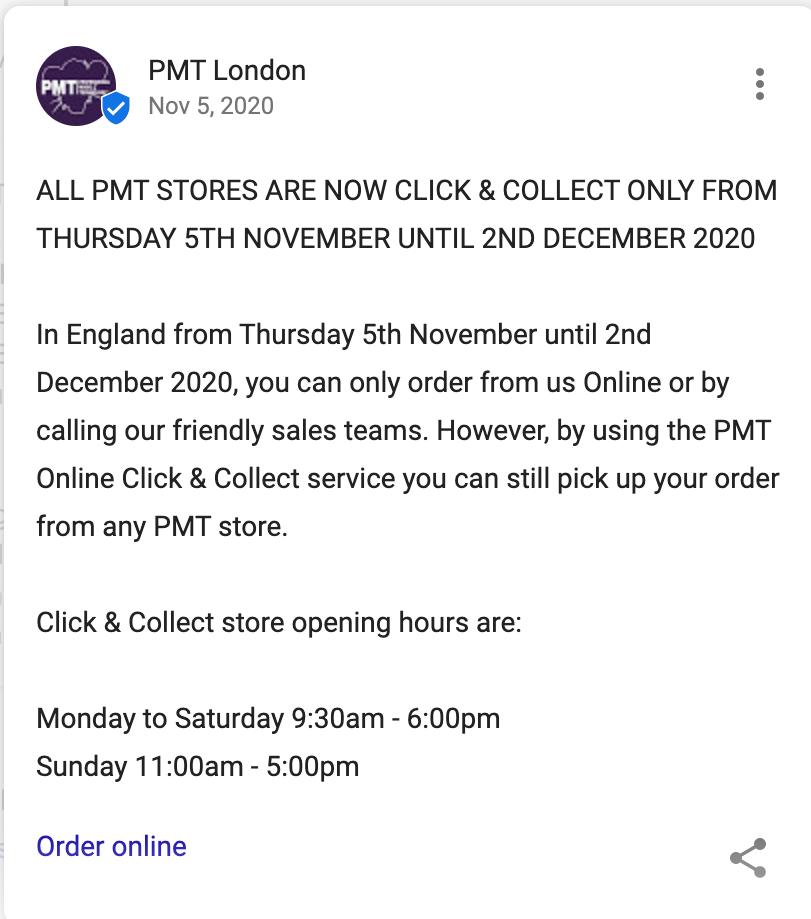 PMT London Google Post for Covid-19