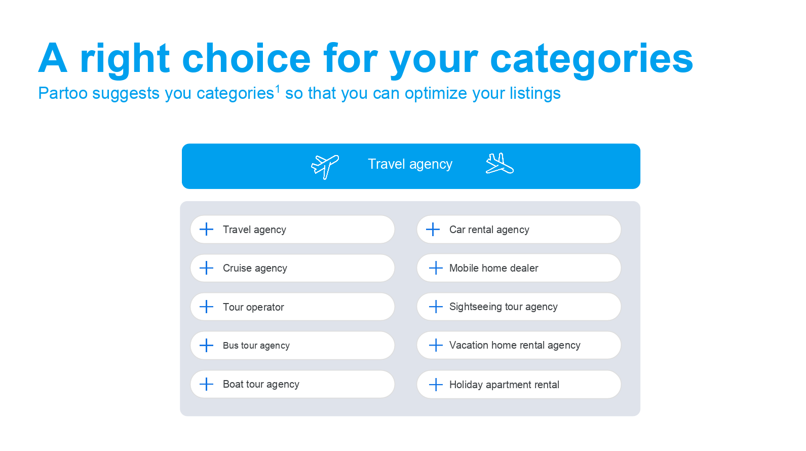 Categories for travel companies on GMB