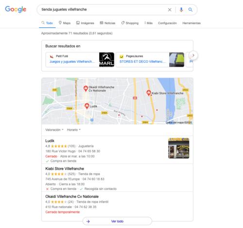 visualización de resultados google en tiendas cerradas temporalmente y tiendas cerradas definitivamente