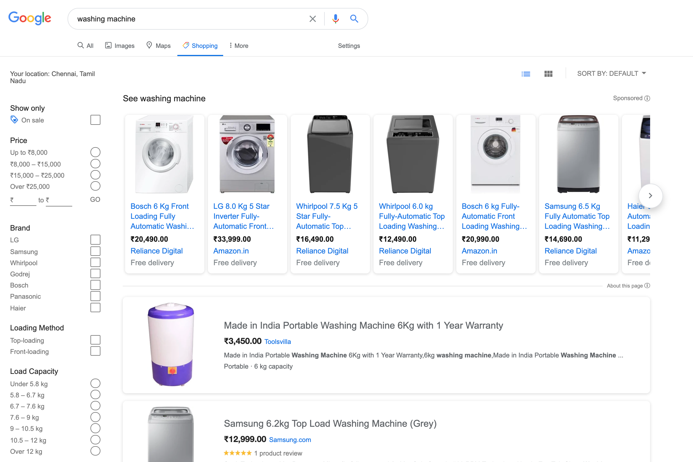 Products for washing machine on google shopping
