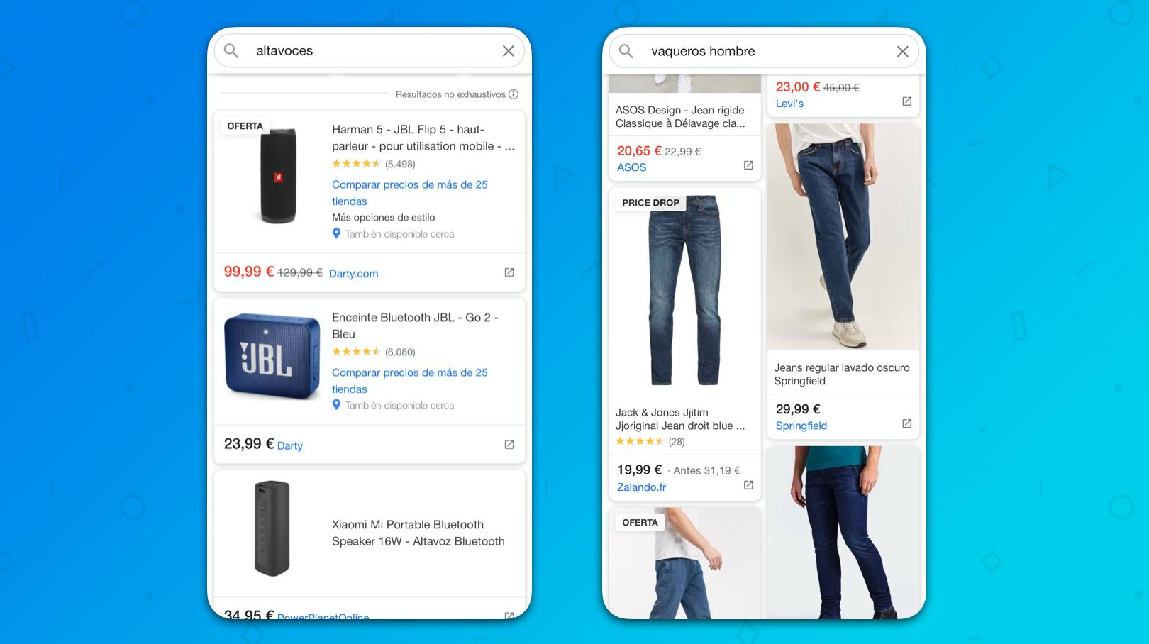 articulos comparados a través de google shopping