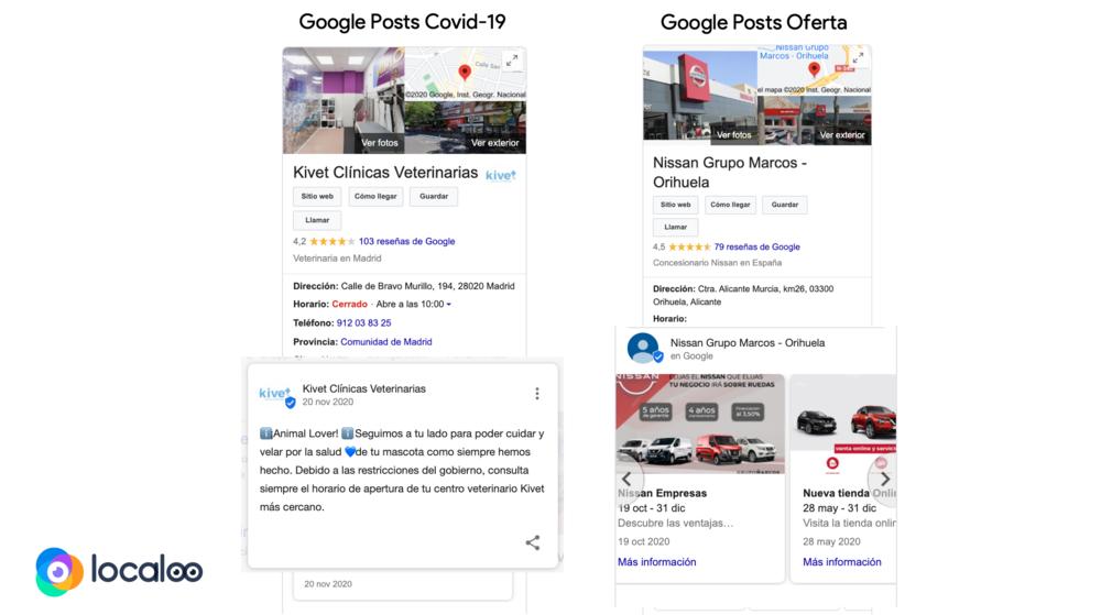 comparativa entre google posts covid y google posts oferta