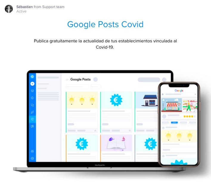 anuncio disponibilidad de google posts covid desde la interfaz Localoo