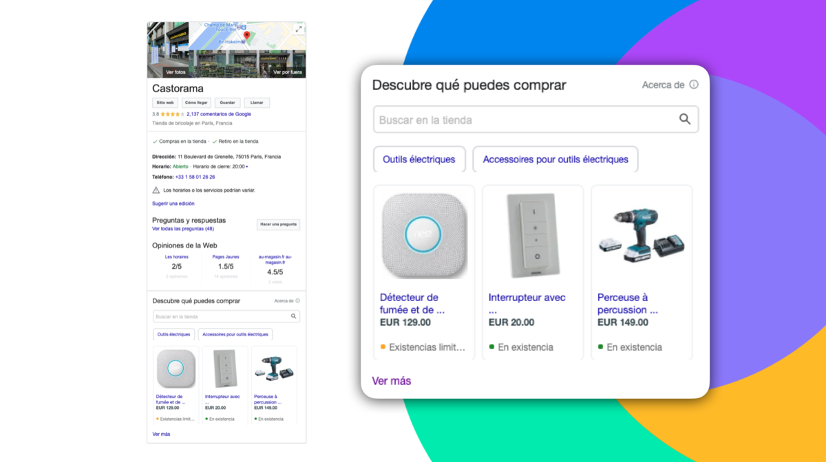 local surfaces y google shopping