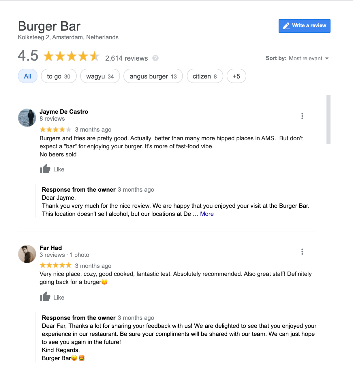Reviews of burger joint in Amsterdam