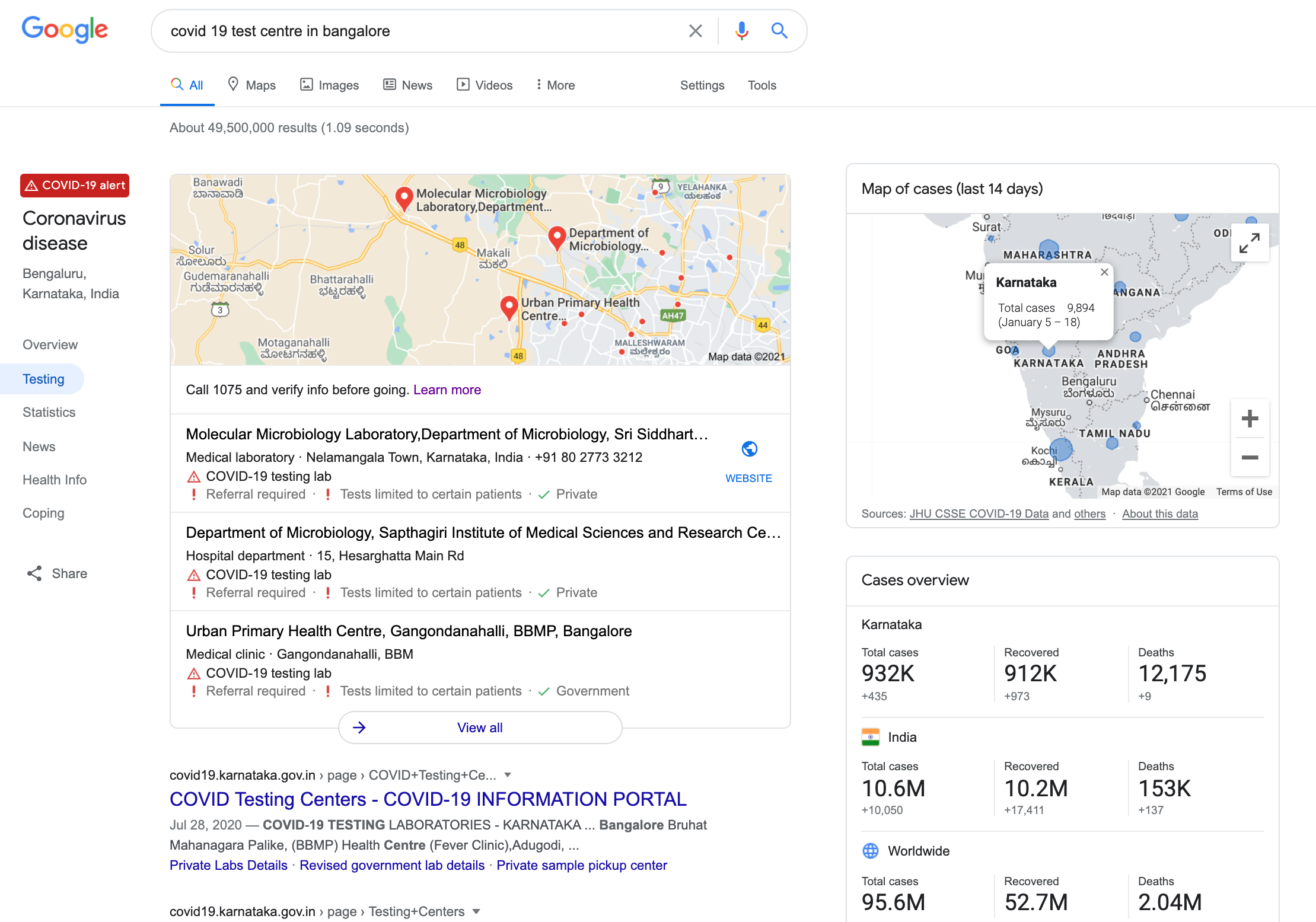 PCR test centers on Google Local pack