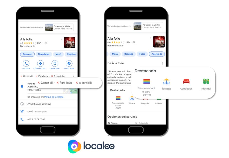visualización atributos en fichas Google en móvil