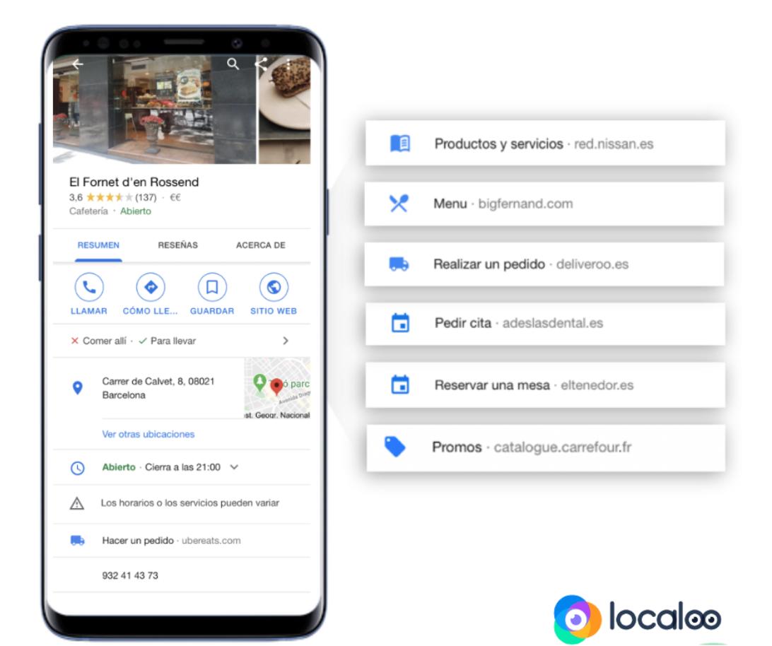 visualización urls adicionales en fichas Google en móvil