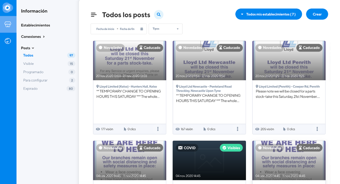 interfaz Google Posts en Localoo