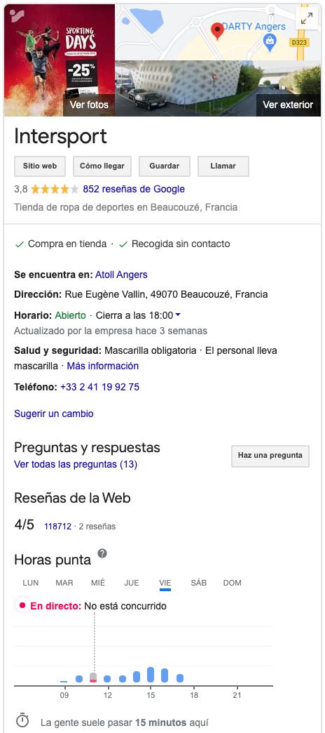 ficha google my business intersport francia