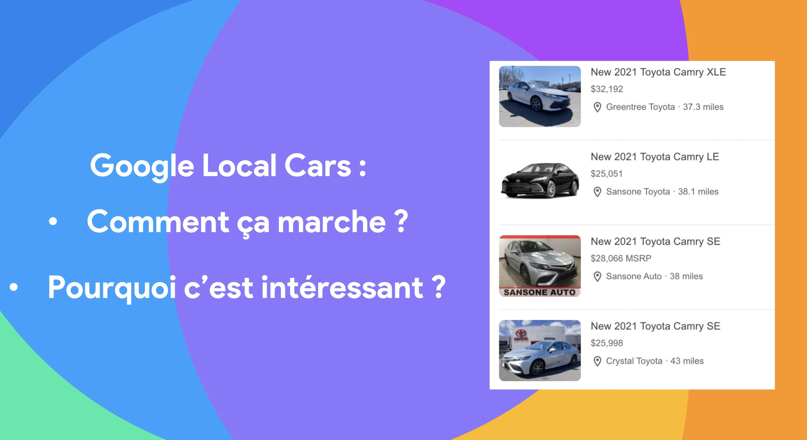 Listes de véhicules en vente dans les pages de résultats de Google