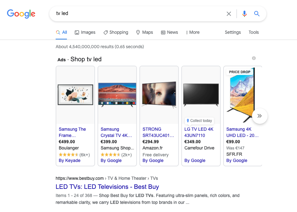 google shopping on google search