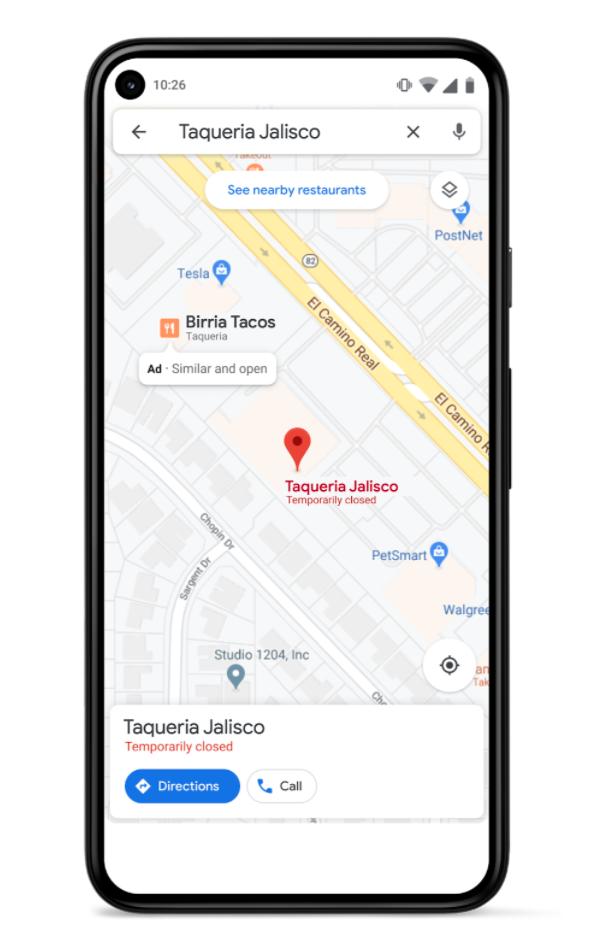 Sugerencia de direcciones similares cercanas en Google Maps