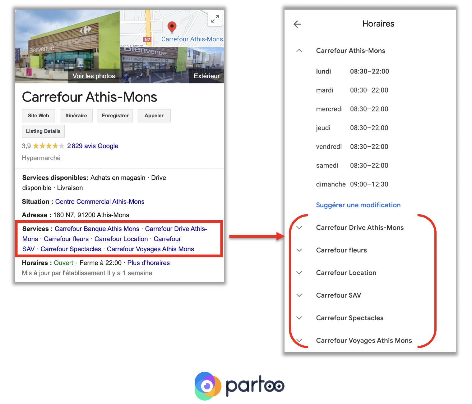 Comment les services sont indiqués sur la fiche Google My Business