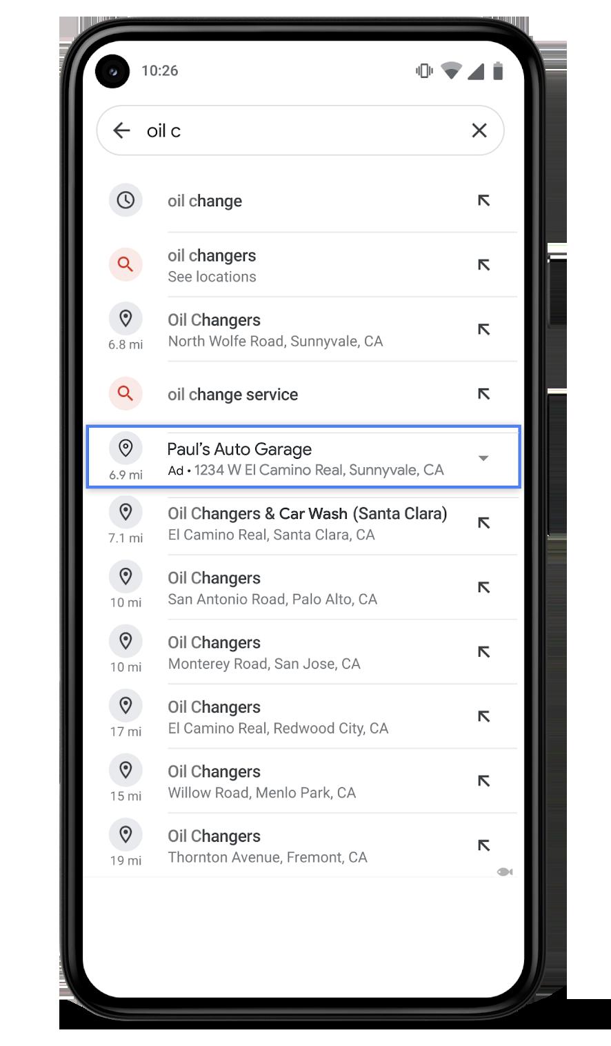 Google Ads Local liste d'adresses sur Google Maps