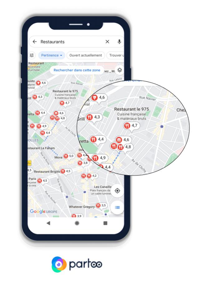 Visualización de notas de restaurantes en Google Maps
