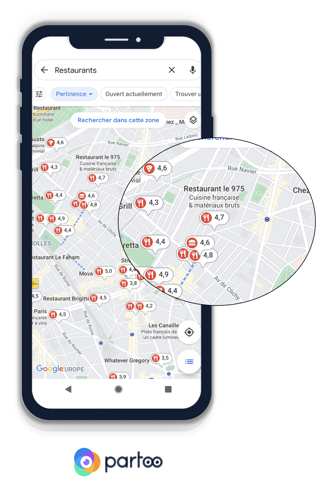 Comment les notes des restaurants s'affichent sur Google Maps