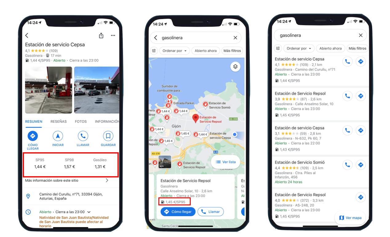 Precios de carburantes indicados en búsqueda Google Maps