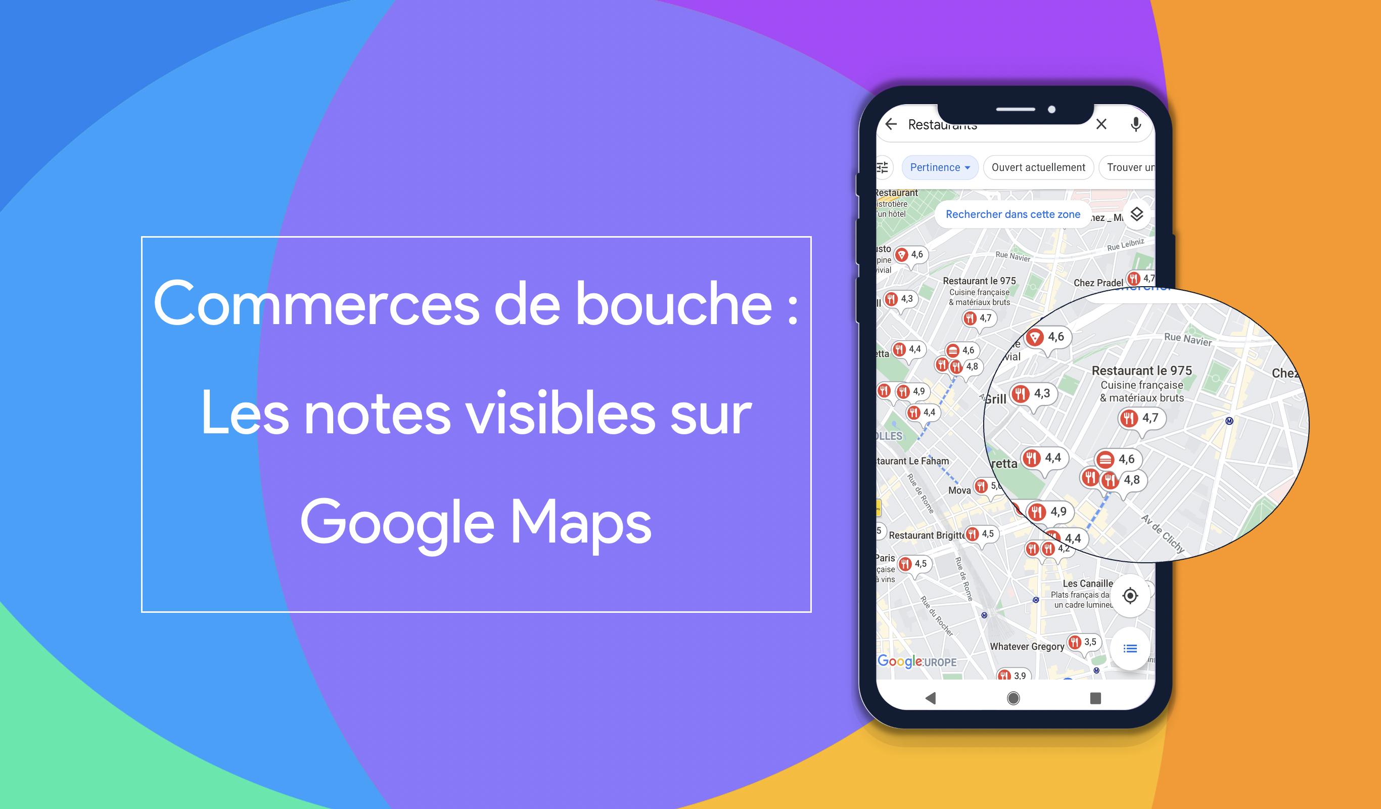 Google Maps affiche les notes du secteur des commerces de bouche