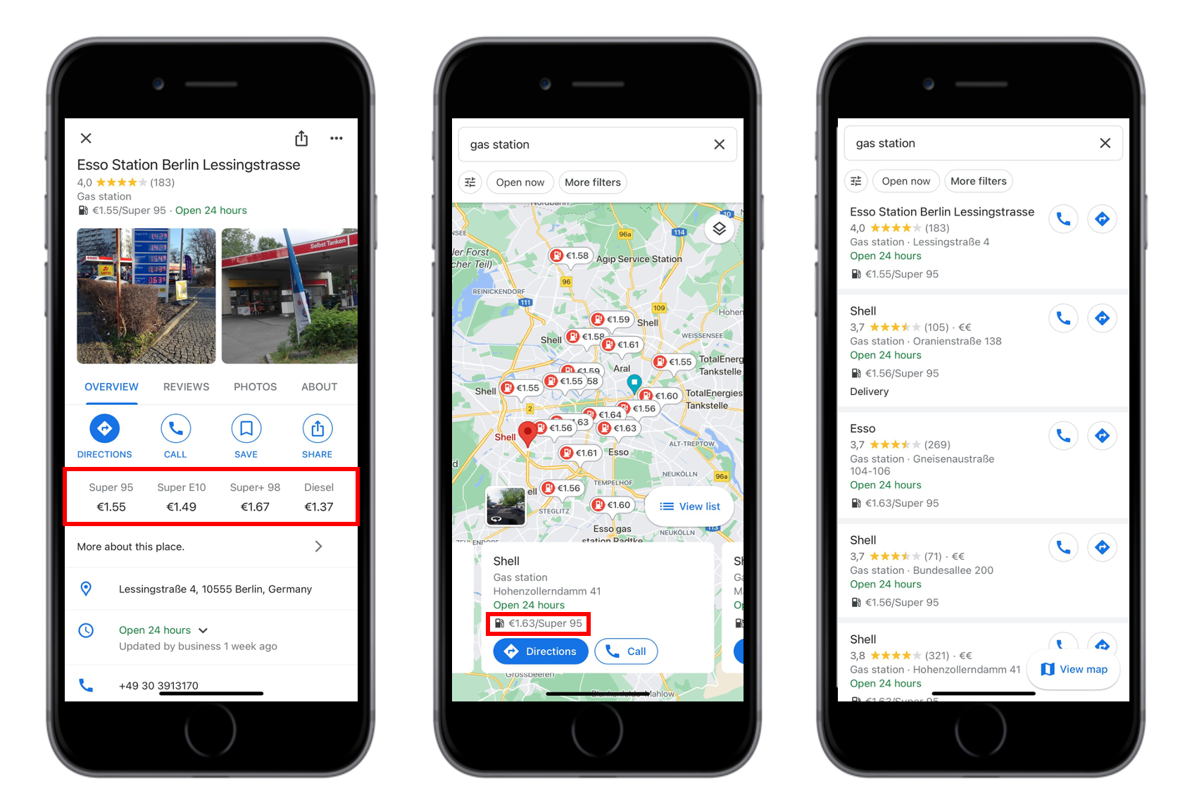 Gas station prices are now displayed on Google Maps